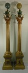Pr Elaborate Masonic Lodge Poles w/ Globes